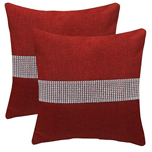 FYJS Confezione da 2 federe in lino artificiale con paillettes tridimensionali Decorazioni per la casa Fodera per cuscino quadrato per divano camera da letto 45x45cm,Vino rosso