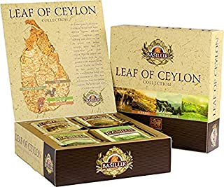 Basilur | Leaf of Ceylon Box | 100% Pure Ceylon Teas | 4 Different Regions and Elevations | 40 Sachets Total | Removable S...