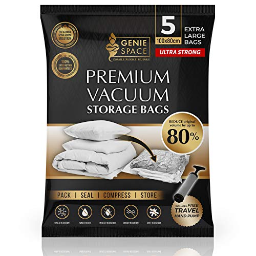 GENIE SPACE - Incredibly Strong Premium Space Saving Vacuum Bags Storage | 5 x EXTRA LARGE - 100x80cm | Airtight & Reusable | Create 80% more space | For Clothes, Towels, Bedding, Duvets and more