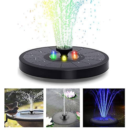 YSINOBEAR Solar-Springbrunnen, 3 W, Solar-Vogeltränke, farbige LED, 8 Düse, Sicherheitsschutz, solarbetriebene Wasserbrunnenpumpe für Vogelbad, Teich und Garten