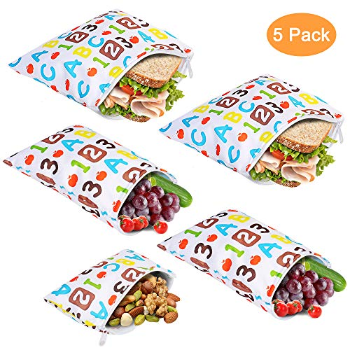 Reusable Sandwich Bags, CGBOOM Snacks Bags Washable Safe Lunch Bags ECO Friendly PEVA Waterproof for Fruits Vegetables with Zipper 5 Pack (Letter Number)