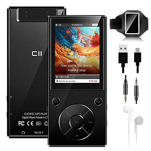 """MP3 Player 32 GB 2,4\"""" Bluetooth 5.0 Eingebauter Lautsprecher Metallgehäuse HiFi-Musik-Player, UKW Radio, Sprachaufzeichnungs, Videoplayer, Sportarmband, Unterstützung von bis zu 128 GB - Schwarz"""