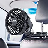 Car Fan, Rechargeable Battery Operated Car Circulator Fan with Clips, USB Powered Mini Car Fan, 4 Speed, 360° Rotatation, Personal Cooling Fan for Car, Rear&Back Seat Passenger Baby Pet Desk Office