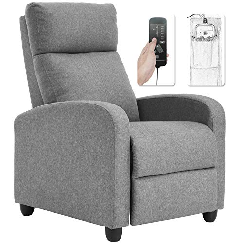 Recliner Chair for Living Room Winback Single Sofa Massage Recliner Sofa Reading Chair Home Theater Seating Modern Reclining Chair Easy Lounge with Fabric Padded Seat Backrest (Grey)