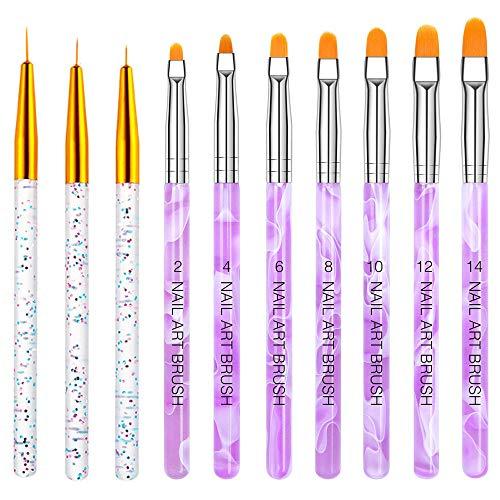 Nagel Pinsel Set, 10-Teilig Gelnägel Pinsel Nagellackstift Acrylpinsel für UV Gel Nägel...