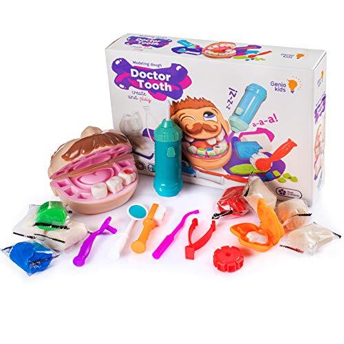 GenioKids Dr. Tooth Zahnarzt Dough Knete Set Kinderspielzeug