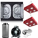"""BloomGrow 2 PCS 800W LED Grow Light+Multi-Sized Grow Tent+8"""" Inline Fan Carbon Air Filter Ducting Combo for Hydroponic Indoor Plant Growing System (800W LEDX2+120''X60''X78''+8'' Filter Combo)"""