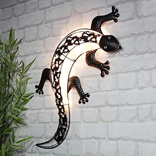 Kamaca XL LED SOLAR Wandleuchte Wand Dekoleuchte wetterfeste Solar Außenleuchte Wandlicht Gecko mit 10 warm weissen LED 32x72 cm (LED Solar Wand - Deko Gecko)
