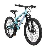 BIKESTAR Bicicleta de montaña de Aluminio Suspensión Doble Bicicleta Juvenil 24 Pulgadas de 9 años | Cambio Shimano de 21 velocidades, Freno de Disco | niños Bicicleta | Azul