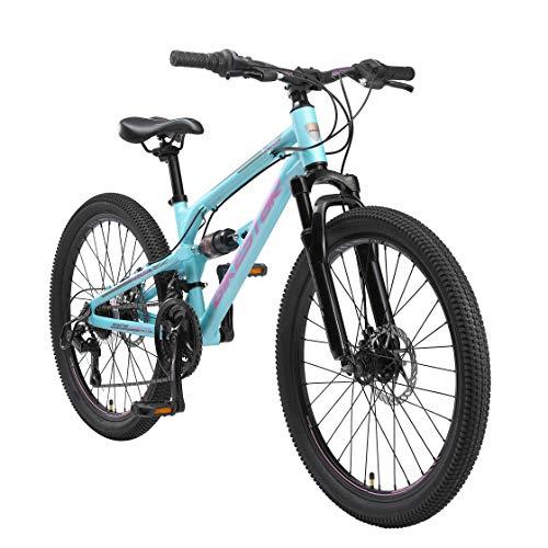 BIKESTAR Kinder Fahrrad Aluminium Fully Mountainbike 21 Gang Shimano, Scheibenbremse ab 9-14 Jahre | 24 Zoll Kinderrad Vollgefedert MTB | Blau