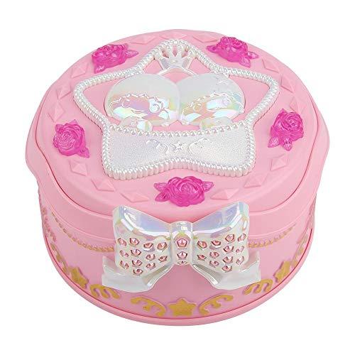 Spieluhren für Mädchen, Runde Spieluhr für Mädchen mit Spiegel, Miniatur 360 Grad Rotary Girl und Schmuckspeicher funktionale Baby-Spielzeug(Rosa)