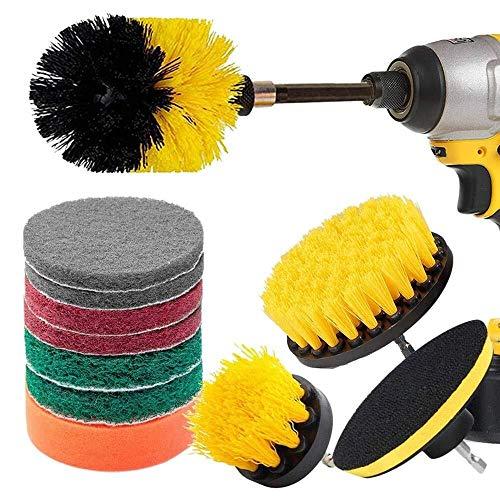 YankimX 12 Pieza de perforación cepillo de fregar Pad Poder depurador con cepillo extendido largo Adjunto de uso múltiple de los limpiadores de fregado taladro inalámbrico for limpieza piscina del azu