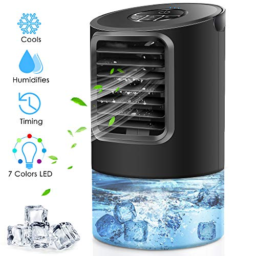 Peodelk Portable Air Conditioner Fan, Mini Evaporative Cooler with 7 Colors Light Changing, 3 Fan Speed, Super Quiet Humidifier Misting Fan for Home Office Bedroom(Black)