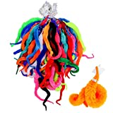 HAPTIME Worm on a Sting, Magic Fuzzy Worms with Wiggle Eye, Trick Toy, Pet Toy, Classic Party Favors Bag Fillers Christmas Stocking Stuffer Gifts (64 Pcs,16 Diffrent Colour)