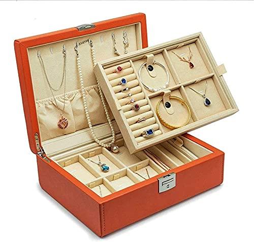 Gymqian Caja de Joyería Creativa Moda Pu Joyería de Cuero Caja de Alenamiento Nueva Caja de Cosmética Caja de Alenamiento Accesorios Moda/naranja / 28.5x22x10cm