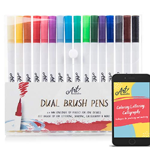 Dual Brush Pens - Water Based Art Markers - 16 Colors for Lettering, Coloring, Bullet Journal, Calligraphy - Colored Pens Set w/Fine Point Tip for Beginners, Adults & Kids. Includes 28-Page eBook