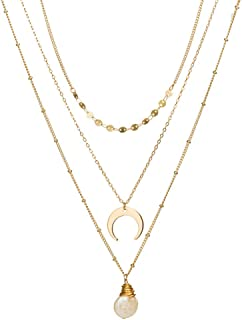 Jxc Multi Layer Necklace Shell Conch Imitation Natural Stone Head Pearl Pendant(Nz336 Flat Pearl + Moon)