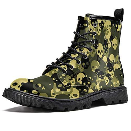 Botas de invierno con estampado de calaveras de camuflaje para mujeres y niñas, botas de nieve cálidas con cordones para el tobillo, color Multicolor, talla 38.5 EU