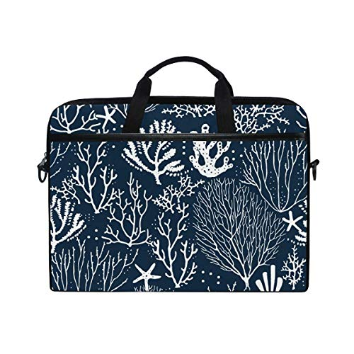 Laptop Sleeve Case,Laptop Bag,Coral Reef Starfishs Pattern Water Briefcase Messenger Notebook Computer Bag with Shoulder Strap Handle,28.5×38 CM/14 Inch