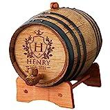 Personalized Whiskey Bourbon Scotch Barrel - Engraved Wine Cask gift - Custom Oak Mini Barrel - Knight Design (2 Liter Barrel)