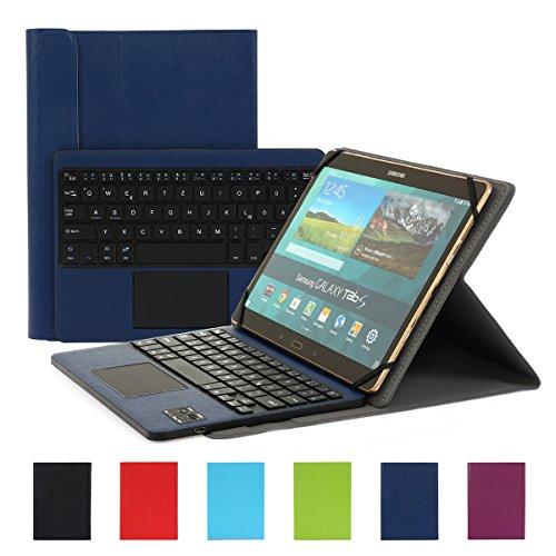 Besmall kompatibel mit 10 Zoll Tablet Bluetooth Tastatur und PU Leder Schutz Hülle mit Standfunktion mit Tablet Samsung Galaxy Tabs (9,6/ 9,7/ 10,1 Bildschirm, Dunkelblau)