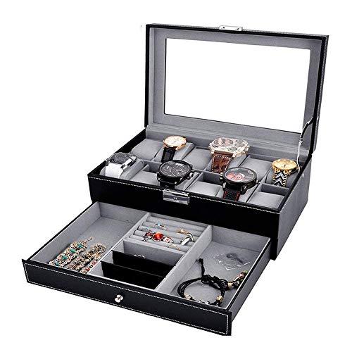 JIAJBG Caja de almacenamiento de joyería clásica portátil para collares, pulseras, pendientes, anillos, negro, 30 x 20 x 13 cm