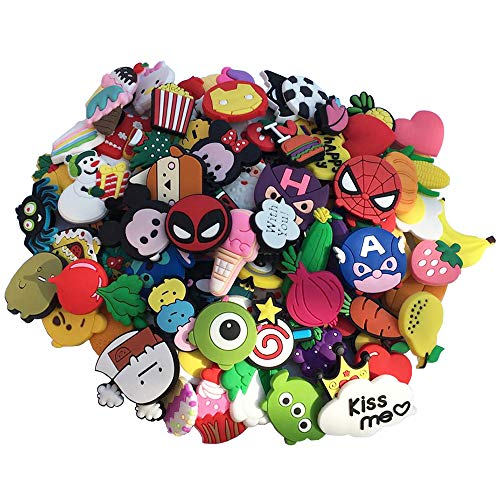 AUKUZI 100 PCS PVC Shoes Charms for Croc Shoes and Bracelet New Accurate Cute Pattern for Boys and Girls Kids Gifts Party Birthday Easter Egg