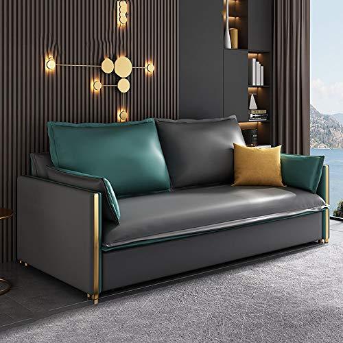 SND-A Wohnzimmer Sofa Sofabett, Multifunktionales Wasserdichtes Sofa Cabrio-Bett, Faltbare Doppelablage Couches Seat Und Sleeper Lazy Schlafsofa Kissen Sitzmöbel,Grau,1.98M