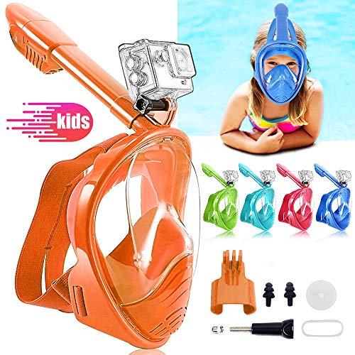 HINATAA Máscara de Buceo para Niños, 180 °Máscara de Snorkel de Cara Completa Infantil, Anti-vaho Anti-Fuga Máscara de Gafas Compatible con GoPro, Adecuado para Niños de 4 a 12 Años (Naranja)