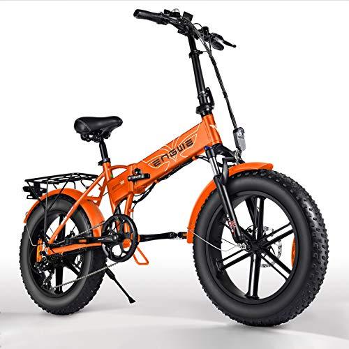Elektrofahrrad, 20 Zoll E Bike Fahrrad, 500W Motor Klapprad Fahrräder, Ebike Mountainbike mit 48V 12.5AH Lithium-Batterie, 7-Gang Shimano, Pedelec Electric Bike Faltrad für Herren Damen - Orange