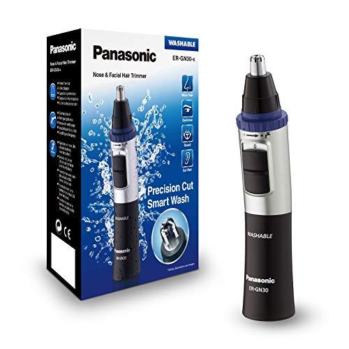Panasonic ER-GN30-K503 - Naricero/Recortador de Vello Facial (Nariz, Oreja, Cejas y Bigote, Acero Inoxidable, Función con Pilas, Sistema de Limpieza Inteligente) Negro y Plata