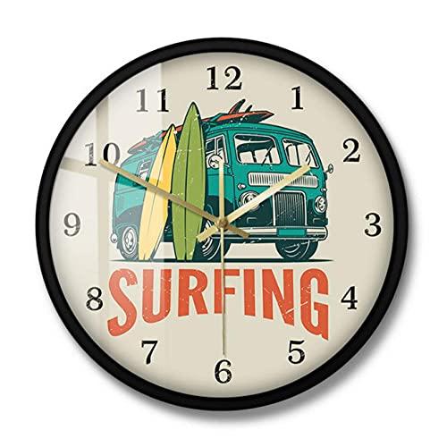 Reloj de Pared de Surf de Coche Vintage de Tiempo de Surf, Furgoneta de Viaje de Verano y Tabla de Surf, decoración Moderna del hogar de Surf, Reloj silencioso-30X30CM
