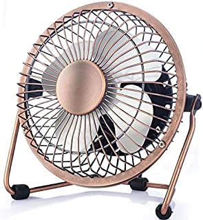 Mini USB Desk Fan,URSMART 4 Inch Small Metal Personal Fan,360°Rotation Adjustment Ultra-Quiet Operation Cooling Table Powered Fan Perfect for Home Office Bedroom