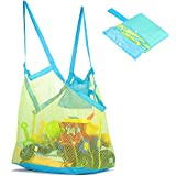 Narwey Mesh Beach Bag and Tote for Sand Toys Beach Net XL (Blue)