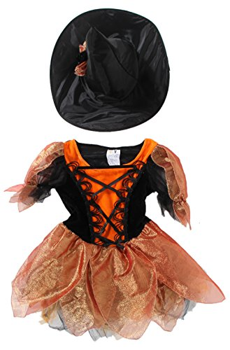EOZY-Costume Abito Strega Bambina 3-12anni Arancione Travestimento Carnevale Halloween Cosplay 10-12 Anni