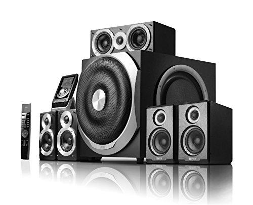 Edifier S760D 5.1 Surround Heimkinosystem (540 Watt) Dolby Digital, ProLogic II, DTS mit Infrarot-Fernbedienung und kabelgebundenem Steuergerät inkl. Display