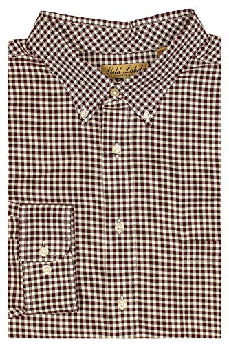 Gold Label Roundtree & Yorke Big and Tall Non-Iron Wrinkle-Resistant Men's Long Sleeve Shirt (Wine 064 & White, X-Large Tall)