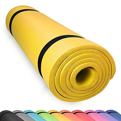 diMio Komfort-Gymnastikmatte Yogamatte in 185x60x1cm, 185x60x1.5cm, 185x90x1.5cm, 200x100x2 mit Tragegurt Phtalatfrei + SGS-geprüft (Gelb, 185 x 90 x 1.5 cm (XL))