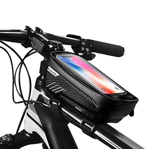 HCFSUK Bolsa para Cuadro de Bicicleta, Bolsa Impermeable para Bicicleta, Soporte para teléfono para Bicicleta Bolsa para teléfono con Pantalla táctil de Almacenamiento de Gran Capacidad con orifici