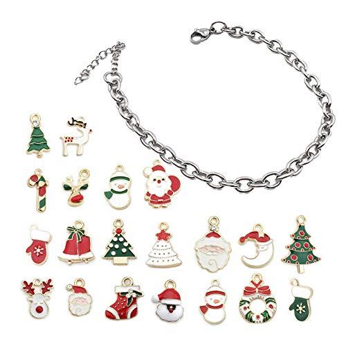 Bracelet Advent Calendar For Girls Christmas, Jewellery Advent Calendars DIY Beads Charms Of 1 Bracelet With 20 Charms Beads, Countdown To Christmas Holiday, Christmas Surprise Gift For 8-12 Year Girl