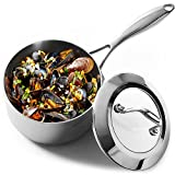 HOMI CHEF Mirror Polished NICKEL FREE Stainless Steel 1.75 QT(Quart) Sauce Pan with Glass Lid (No Toxic Non Stick Coating, Whole-Clad 3-Ply) 10112