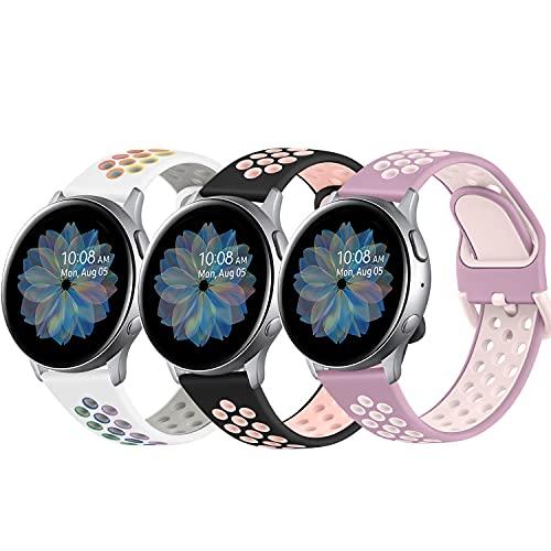 DEOU 3Pack Correa para Samsung Galaxy Watch Active 2 40mm 44mm & Galaxy Watch Active & Galaxy Watch 3 41mm & Galaxy Watch 42mm,20mm Silicona Pulseras de Repuesto para Galaxy Watch Active 2(L,3Pack D)