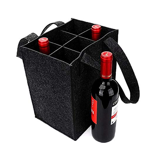 YISUYA Starke Filz Wein Tasche mit Griff, Flaschentasche 6 Fächer, Filztasche für Bierflaschen mit Herausnehmbare Trennwand für Reisen Party Strand Urlaub Geburtstagsparty