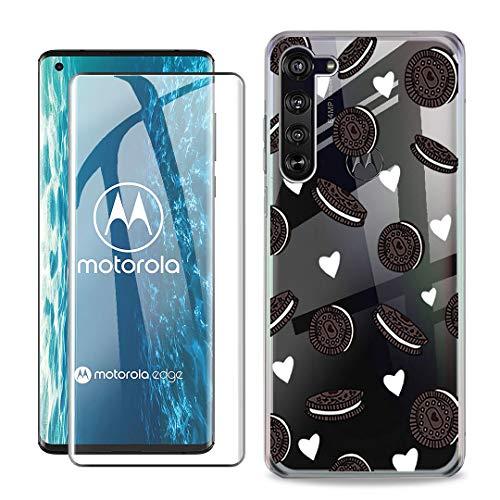 SCDMY Handyhülle für Motorola Edge Hülle + Panzerglas displayfolie,Weich Transparent Schutzhülle, Starker Schutz Silikon Hülle TPU Schale Panzerglas für Motorola Edge (6.7