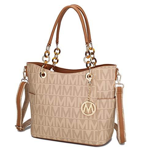 Mia K Collection Crossbody Shoulder Handbag for Women, PU Leather Pocketbook Top-Handle Purse Tote-Satchel Bag Beige