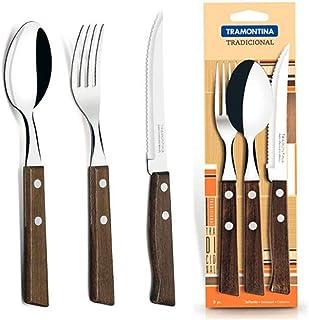 Tramontina 22299001 - Juego de vajilla tradicional (mango de madera), 3 piezas, cuchara 1p, tenedor 1p, cuchillo 1p | para cocina, comedor, camping, senderismo, al aire libre, barbacoa, pícnic, casa