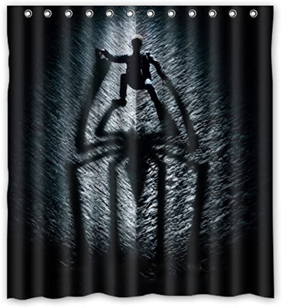Amazing Spiderman Creative Shadow Personalize Custom Bathroom Shower Curtain Waterproof Polyester Fabric 66 W X72 H Rings Included