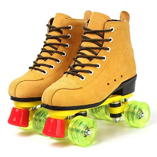 2020 Rindsleder Mädchen Frauen Erwachsene Kinder Rollschuhe Skating Schuhe Sliding Inline Sneakers 4 Rollen 2 Reihen Linie Outdoor Geschenke für Frauen 37 Braun