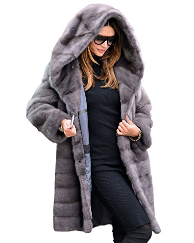 Aofur New Womens Thick Faux Fur Big Hooded Parka Long Overcat Peacoat Winter Coats Jackets (XXX-Large, Grey)
