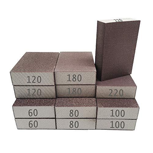 12PCS Sanding Sponge,Sanding Blocks Coarse Medium Fine,Sanding Block in 60/80/100/120/180/220 for Wood,Metal,Drywall